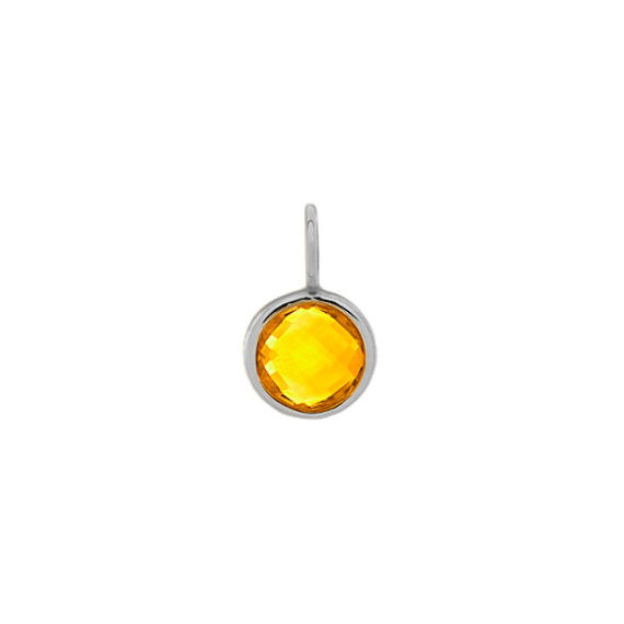 I Love Our Adventures - Citrine Charm in 14k White Gold