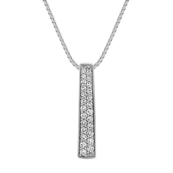 Round Diamond Arched Bar Pendant in 14k White Gold (18 in)