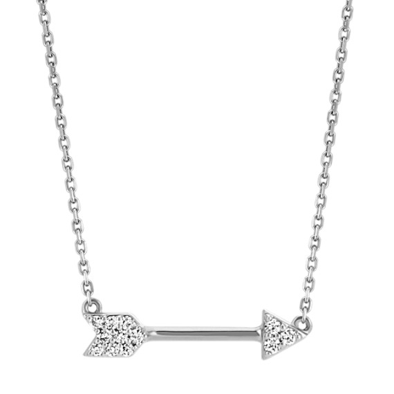 Round Diamond Arrow Necklace in 14k White Gold (16 in)