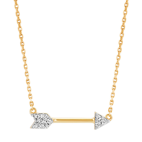 Round Diamond Arrow Necklace in 14k Yellow Gold (16 in)