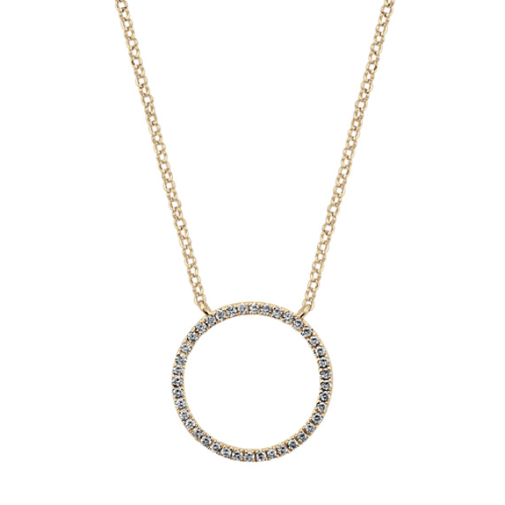 Round Diamond Circle Necklace in 14k Yellow Gold (18 in)