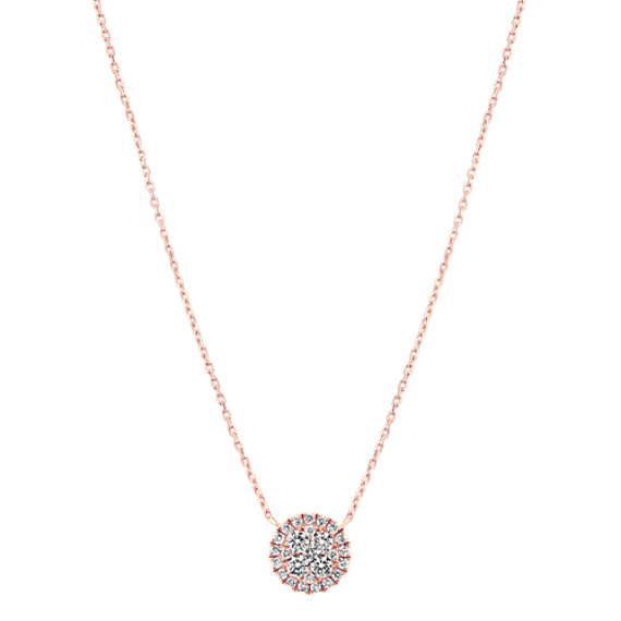 Round Diamond Cluster Necklace in 14k Rose Gold (18 in)