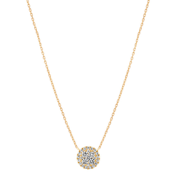Round Diamond Cluster Necklace in 14k Yellow Gold (18 in)