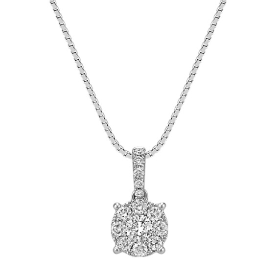 Round Diamond Cluster Pendant (18 in)