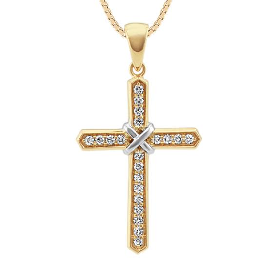 Round Diamond Cross Necklace (24 in)