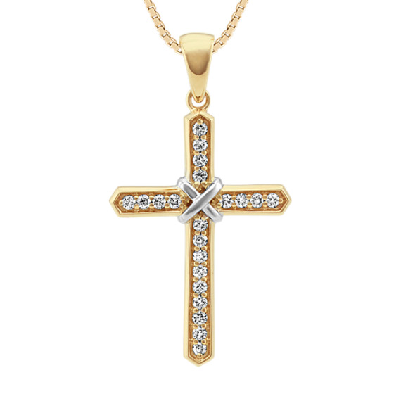 Round Diamond Cross Necklace (24 in)