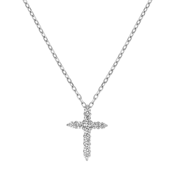 Round Diamond Cross Pendant (18 in)