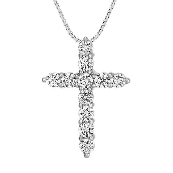 Round Diamond Cross Pendant (18 in)