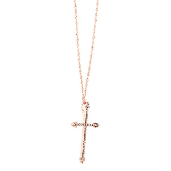 Round Diamond Cross Pendant in 14k Rose Gold (20 in.) image