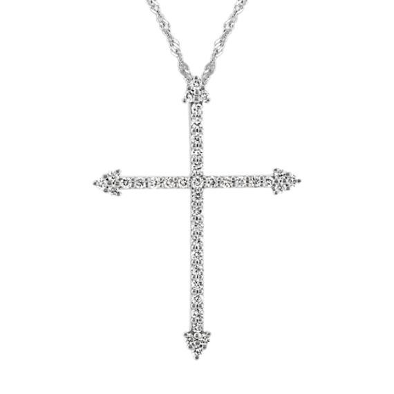 Round Diamond Cross Pendant in 14k White Gold (18 in)