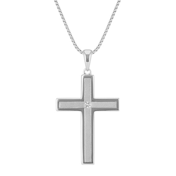 Round diamond cross pendant in sterling silver 20 in shane co round diamond cross pendant in sterling silver 20 in aloadofball Images