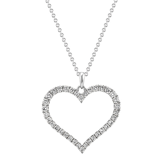 Round Diamond Heart Pendant (22 in.)