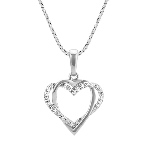 Round Diamond Heart Pendant in Sterling Silver (18 in)
