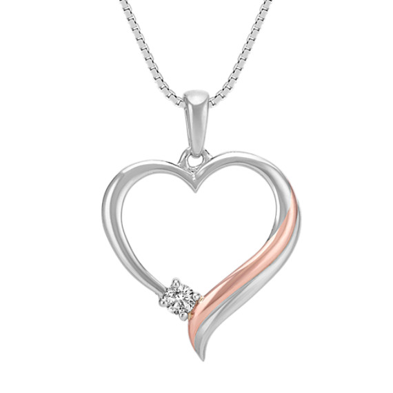 Round Diamond Heart Pendant in Sterling Silver and 14k Rose Gold (18 in)