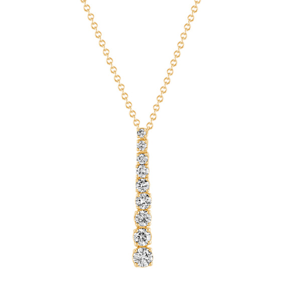 Round Diamond Journey Pendant in 14k Yellow Gold (22 in)