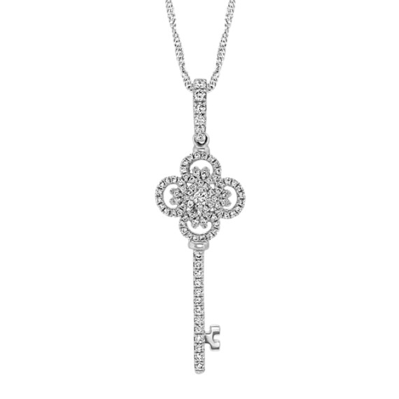 Round Diamond Key Pendant (20 in.)
