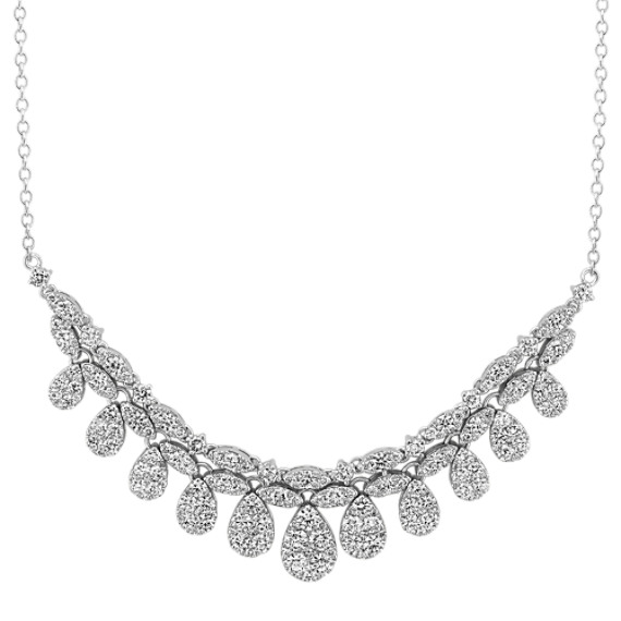 Round Diamond Teardrop Necklace (18 in)