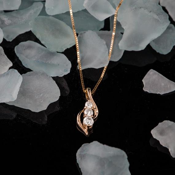 Round Diamond Three-Stone Pendant (18 in) image