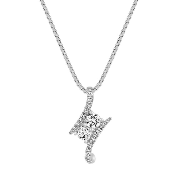 Round Diamond Two-Stone Pendant in 14k White Gold (18 in)