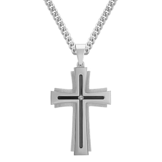 Round Diamond and Stainless Steel Cross Necklace (24 in)