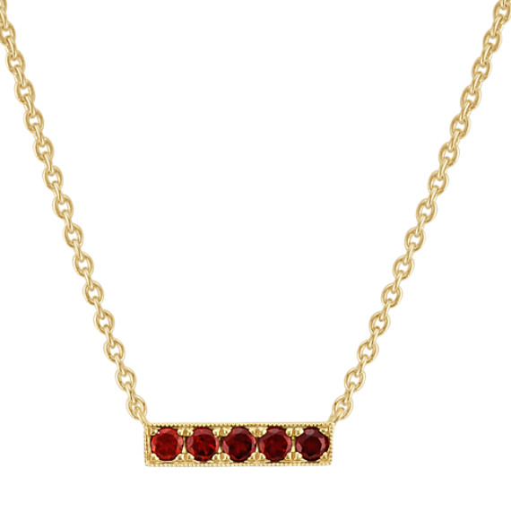 Round Garnet Bar Necklace in 14k Yellow Gold (18 in)