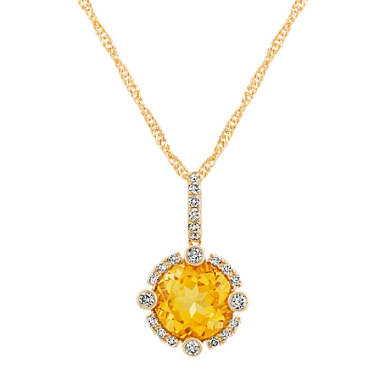 Round Golden Citrine and Diamond Pendant in 14k Yellow Gold