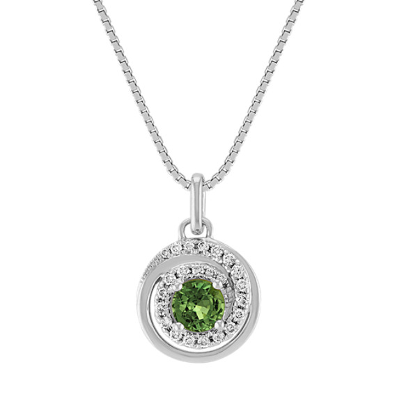 Round Green Sapphire and Diamond Circle Pendant (18 in)