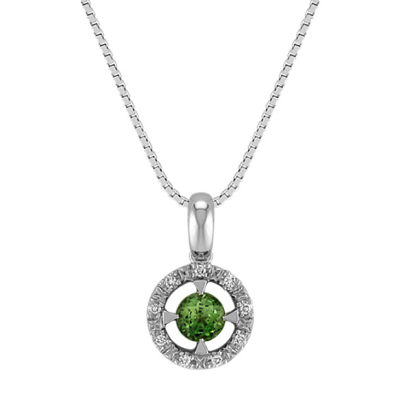 Round Green Sapphire and Diamond Halo Pendant (18 in)