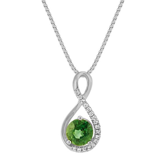 Round Green Sapphire and Diamond Swirl Pendant in White Gold (18 in)