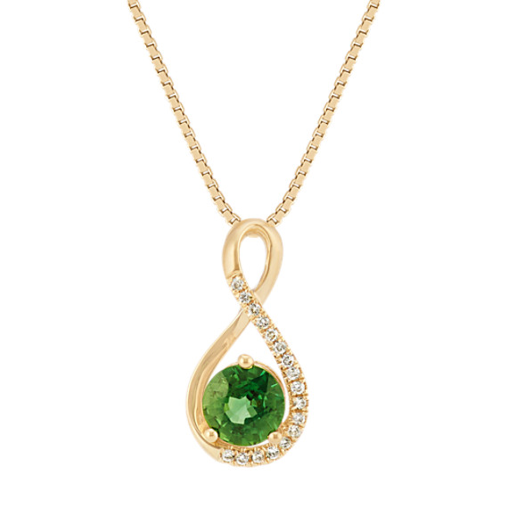 Round Green Sapphire and Diamond Swirl Pendant in Yellow Gold (18 in)