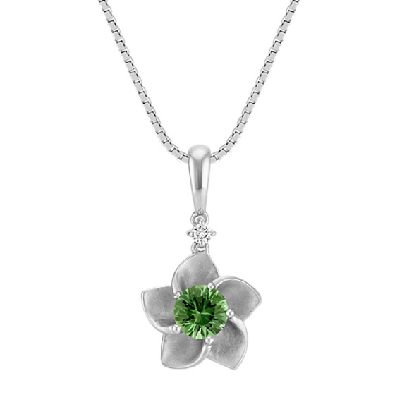 Round Green Sapphire and Round Diamond Flower Pendant (18 in)