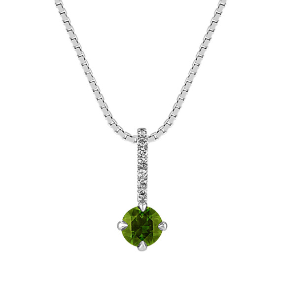 Round Green Sapphire and Round Diamond Pendant (18 in)