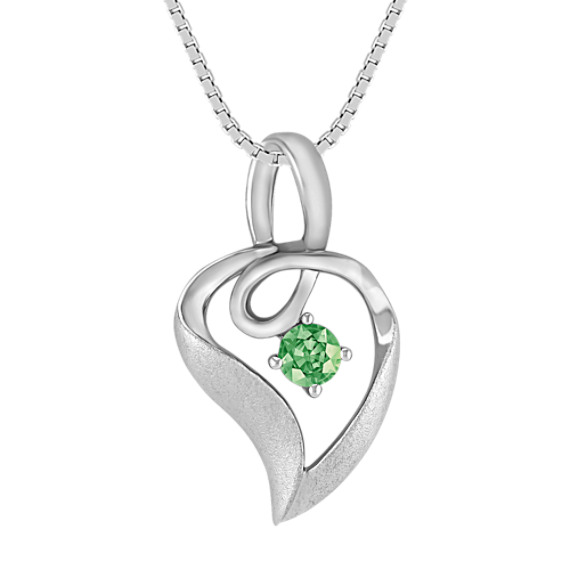 Round Green Sapphire and Sterling Silver Pendant (18 in)