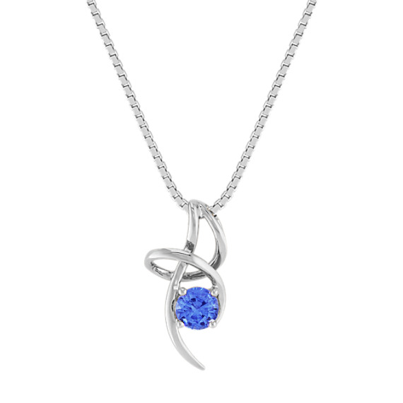 Round Kentucky Blue Sapphire Pendant (18 in)