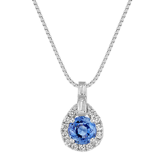Round Kentucky Blue Sapphire, Round and Baguette Diamond Pendant (18 in)