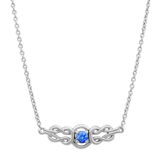 Round Kentucky Blue Sapphire Vintage Necklace (18 in)