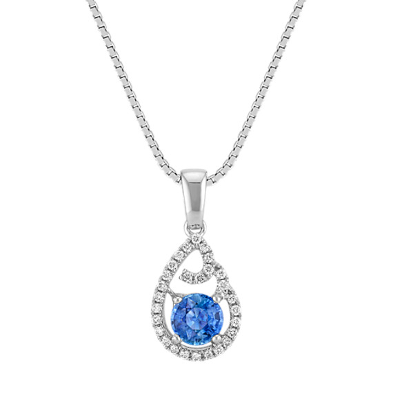 Round Kentucky Blue Sapphire and Diamond Accented Swirl Pendant (18 in)