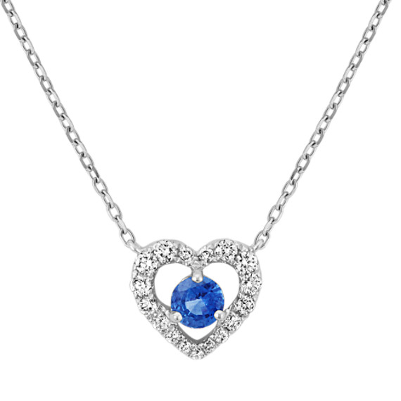 Round Kentucky Blue Sapphire and Diamond Heart Necklace (18 in)