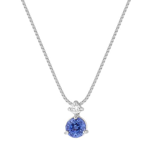 Round Kentucky Blue Sapphire and Diamond Pendant (18 in)