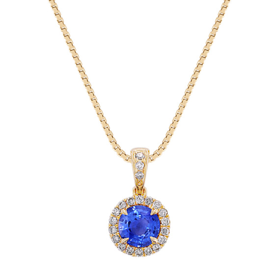 Round Kentucky Blue Sapphire and Diamond Pendant (18 in)