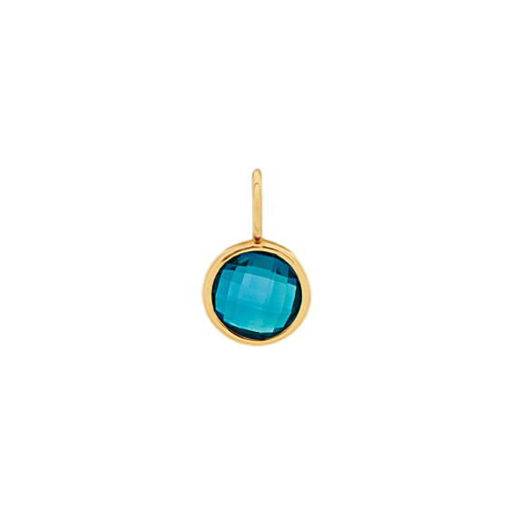 You Are One of a Kind - London Blue Topaz Charm in 14k Yellow Gold