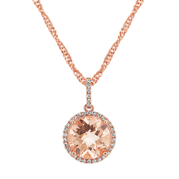 Round Morganite Pendant in 14k Rose Gold (20 in)