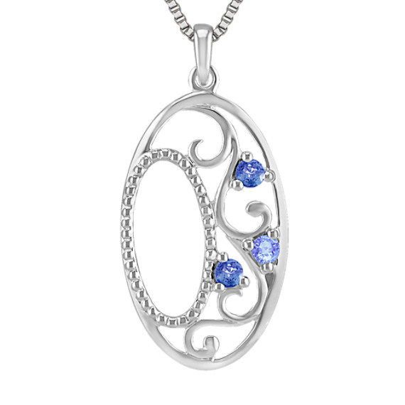 Round Multi-Colored Sapphire Pendant in Sterling Silver (18 in)