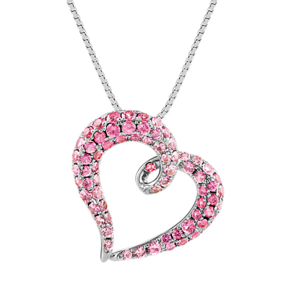 Round Pink Sapphire Heart Pendant in Sterling Silver (18 in)