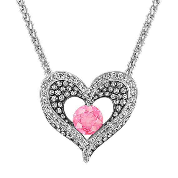 Round pink sapphire and diamond heart pendant with black rhodium 18 round pink sapphire and diamond heart pendant with black rhodium 18 in aloadofball Gallery