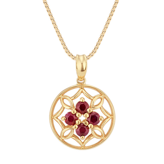 Round Ruby Cluster Pendant in 14k Yellow Gold (18 in)