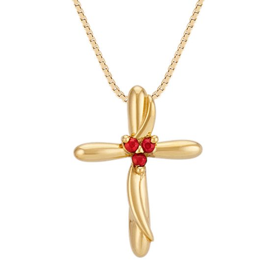 Round Ruby Cross Pendant in Yellow Gold (18 in)