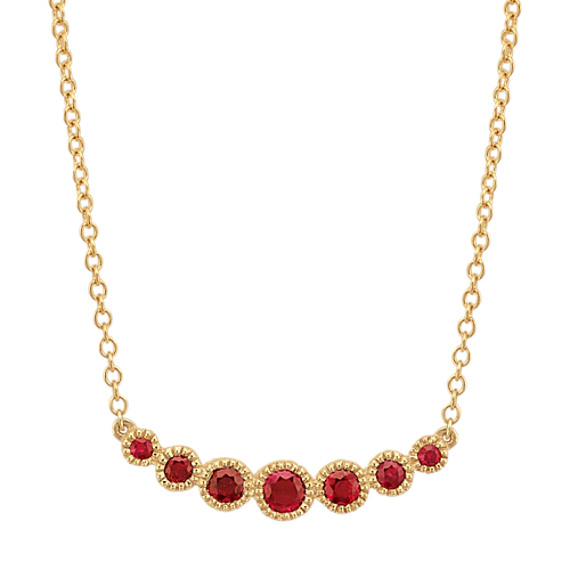 Round Ruby Necklace in 14k Yellow Gold (18 in)