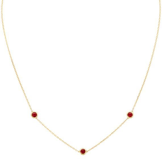 Round Ruby Station Necklace (18 in)