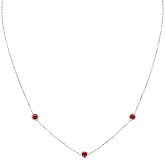 Round Ruby Station Necklace in 14k White Gold (18 in)